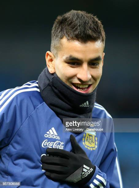 Angel Correa of Argentina looks on during the warm up prior to the International friendly match between Argentina and Italy at Etihad Stadium on...