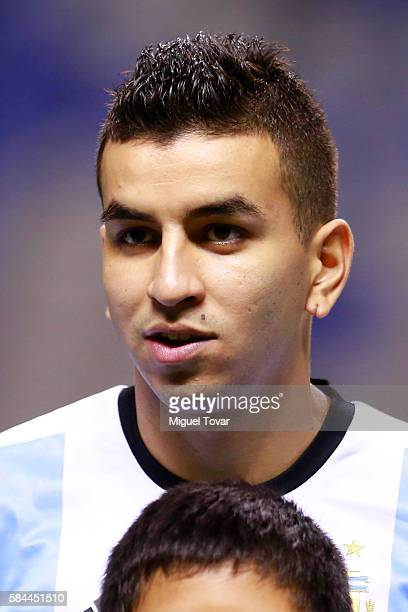 Angel Correa of Argentina looks on prior an U23 International Friendly between Mexico and Argentina at Cuauhtemoc Stadium on July 28 2016 in Puebla...