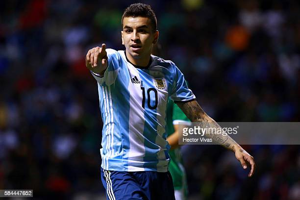 Angel Correa of Argentina reacts during an U23 International Friendly between Mexico and Argentina at Cuauhtemoc Stadium on July 28 2016 in Puebla...