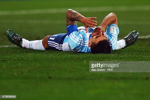 Angel Correa of Argentina reacts during the FIFA U20 World Cup New Zealand 2015 Group B match between Austria and Argentina at Wellington Regional...