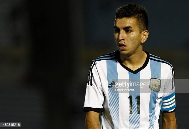 Angel Correa of Argentina takes a breath during a match between Argentina and Paraguay as part of the fourth round of the second stage of U20 South...