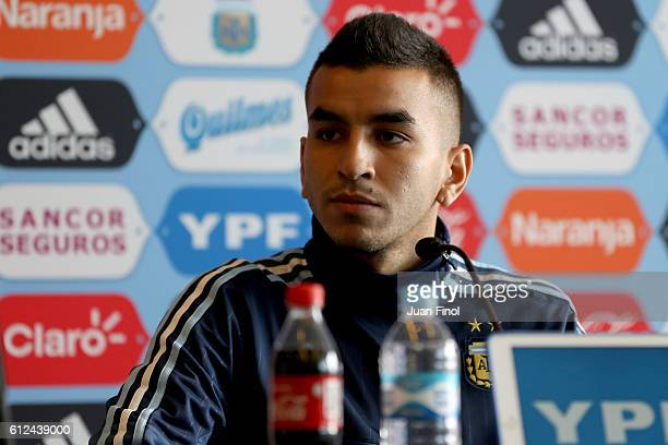 Angel Correa of Argentina talks to press during a press conference prior to the Russia 2018 World Cup Qualifiers match between Peru and Argentina at...