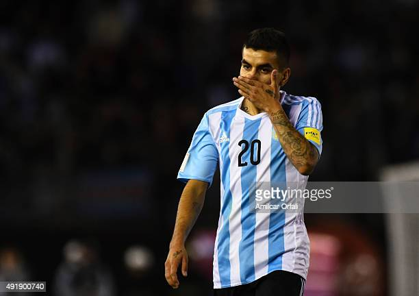 Angel Correa of Argentina walks in the field during a match between Argentina and Ecuador as part of FIFA 2018 World Cup Qualifier at Monumental...