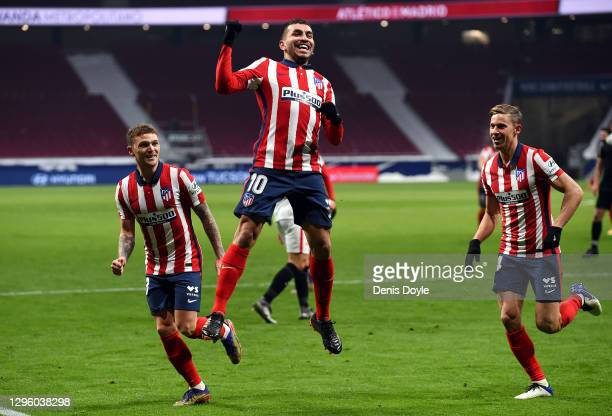 Angel Correa of Atletico de Madrid celebrates after scoring their team's first goal during the La Liga Santander match between Atletico de Madrid and...