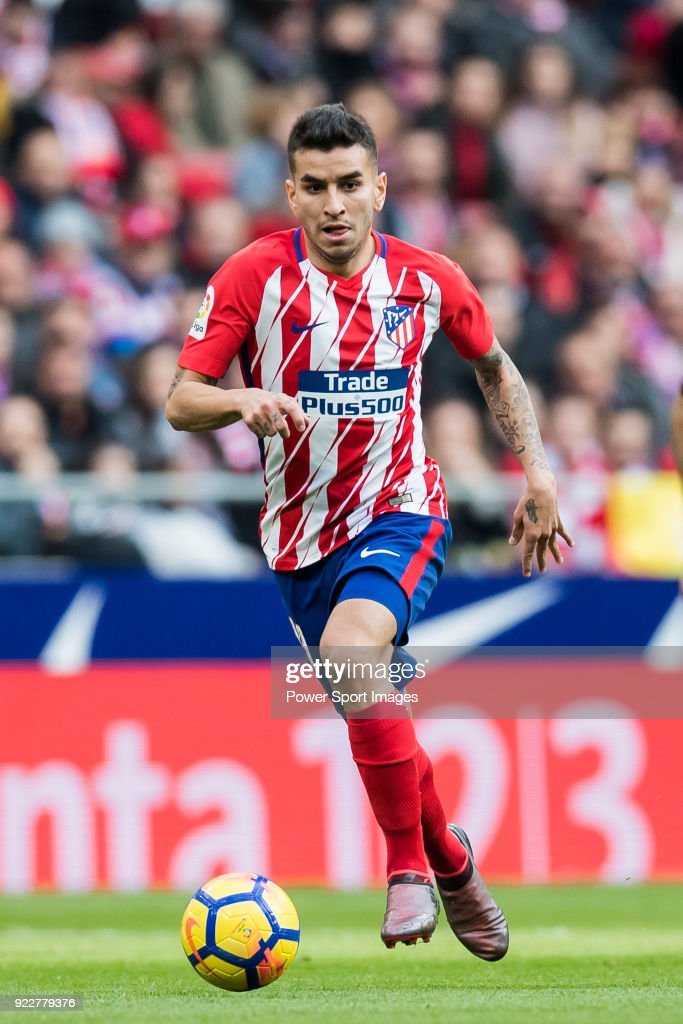 Angel Correa of Atletico de Madrid in action during the La Liga 2017-18 match between Atletico de Madrid and UD Las Palmas at Wanda Metropolitano on January 28 2018 in Madrid, Spain.