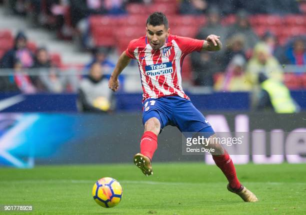 Angel Correa of Atletico de Madrid scores his team's opening goal during the La Liga match between Atletico Madrid and Getafe at estadio Wanda...
