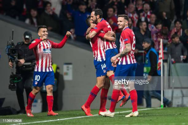 Angel Correa of Atletico Madrid and Saul Niguez of Atletico Madrid celebrate the second goal of his team during the UEFA Champions League Round of 16...