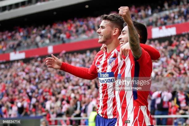 Angel Correa of Atletico Madrid celebrates 10 with Lucas Hernandez of Atletico Madrid during the La Liga Santander match between Atletico Madrid v...