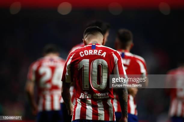 Angel Correa of Atletico Madrid celebrates a goal during the Spanish League La Liga football match played between Atletico de Madrid and Granada CF...