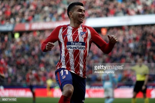 Angel Correa of Atletico Madrid celebrates after scoring a goal during the La Liga soccer match between Atletico Madrid and Celta Vigo at Wanda...
