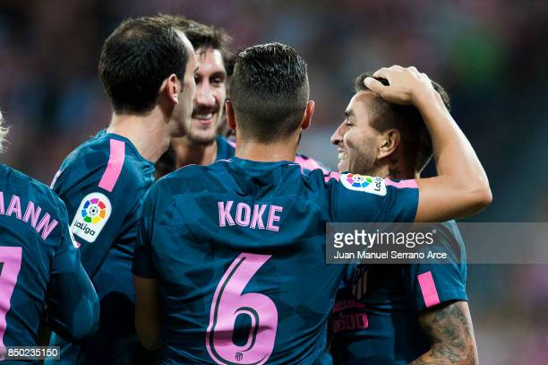 Angel Correa of Atletico Madrid celebrates after scoring goal during the La Liga match between Athletic Club Bilbao and Atletico Madrid at San Mames...