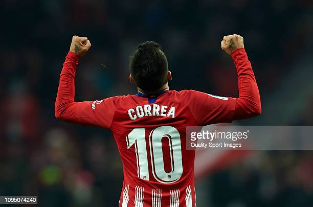 Angel Correa of Atletico Madrid celebrates after scoring his sides second goal during the Copa del Rey Round of 16 second leg match between Atletico...