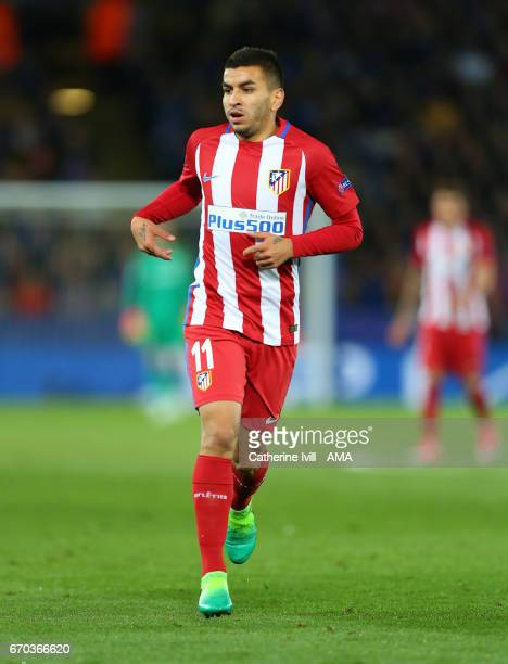 Angel Correa of Atletico Madrid during the UEFA Champions League Quarter Final second leg match between Leicester City and Club Atletico de Madrid at...