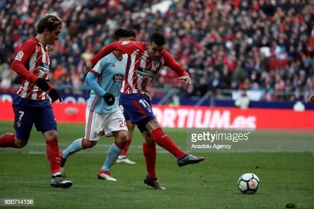 Angel Correa of Atletico Madrid in action during the La Liga soccer match between Atletico Madrid and Celta Vigo at Wanda Metropolitano Stadium in...