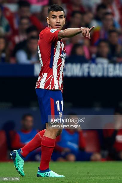 Angel Correa of Atletico Madrid reacts during the La Liga match between Atletico Madrid and Real Betis at Wanda Metropolitano Stadium on April 22...