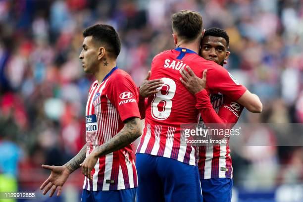Angel Correa of Atletico Madrid Saul Niguez of Atletico Madrid Thomas Lemar of Atletico Madrid during the La Liga Santander match between Atletico...