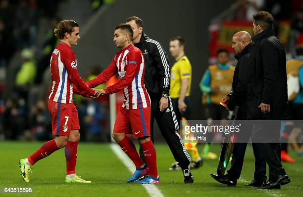 Angel Correa of Atletico replaces Antoine Griezmann during the UEFA Champions League Round of 16 first leg match between Bayer Leverkusen and Club...
