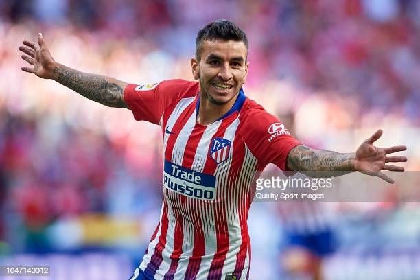 Angel Correa of Club Atletico de Madrid celebrates after scoring his team's first goal during the La Liga match between Club Atletico de Madrid and...
