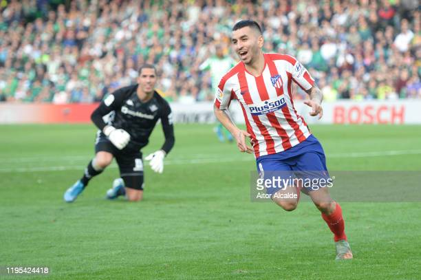 Angel Correa of Club Atletico de Madrid celebrates after scoring his sides first goal during the Liga match between Real Betis Balompie and Club...