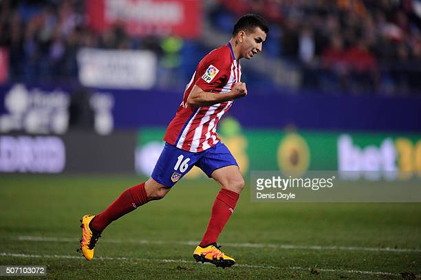 Angel Correa of Club Atletico de Madrid celebrates after scoring his team's 2nd goal during the Copa del Rey Quarter Final 2nd Leg match between Club...