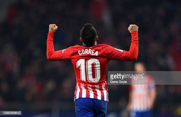 Angel Correa of Club Atletico de Madrid celebrates scoring to make it 2-2 during the Copa del Rey Round of 16 match between Atletico Madrid and...