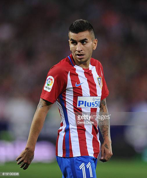 Angel Correa of Club Atletico de Madrid in action during the La Liga match between Club Atletico de Madrid and Malaga CF at estadio Vicente Calderono...