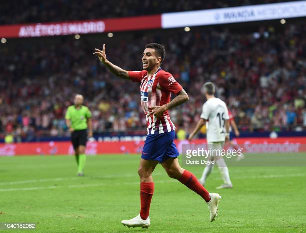 Angel Correa of Club Atletico de Madrid reacts after his goal was initially disallowed during the La Liga match between Club Atletico de Madrid and...