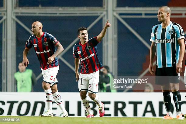 Angel Correa of San Lorenzo celebrates the opening goal during a match between San Lorenzo and Gremio as part of round of sixteen of Copa Bridgestone...