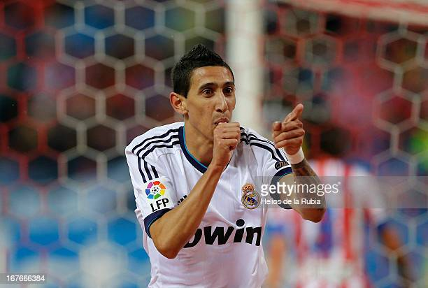 Angel de Di Maria of Real Madrid celebrates after scoring during the La Liga match between Atletico de Madrid and Real Madrid at Vicente Calderon...