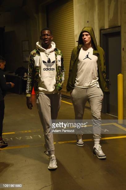 Angel Delgado and Danilo Gallinari of the LA Clippers arrives before the game against the LA Clippers on January 31 2019 at STAPLES Center in Los...