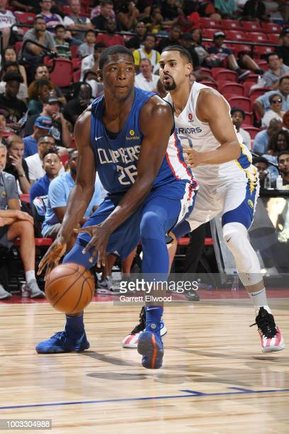 Angel Delgado handles the ball during the game against the Golden State Warriors during the 2018 Las Vegas Summer League on July 6 2018 at the Thomas...