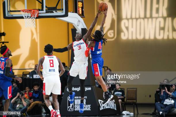 Angel Delgado of the Agua Caliente Clippers blocks a shot during the NBA G League Winter Showcase on December 19 2018 at Mandalay Bay Events Center...