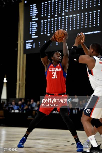 Angel Delgado of the Agua Caliente Clippers handles the ball against the Capital City GoGo during the NBA G League Winter Showcase at Mandalay Bay...
