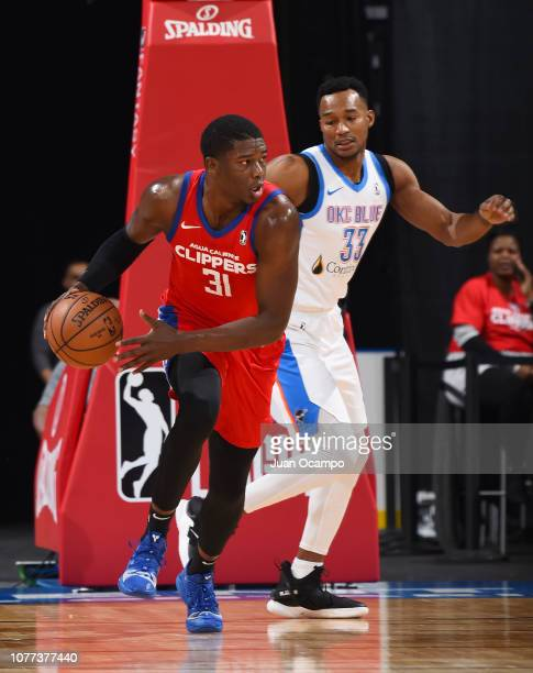 Angel Delgado of the Agua Caliente Clippers of Ontario dribbles the ball against Chris Wright of the Oklahoma City Blue on January 4 2019 at Citizens...