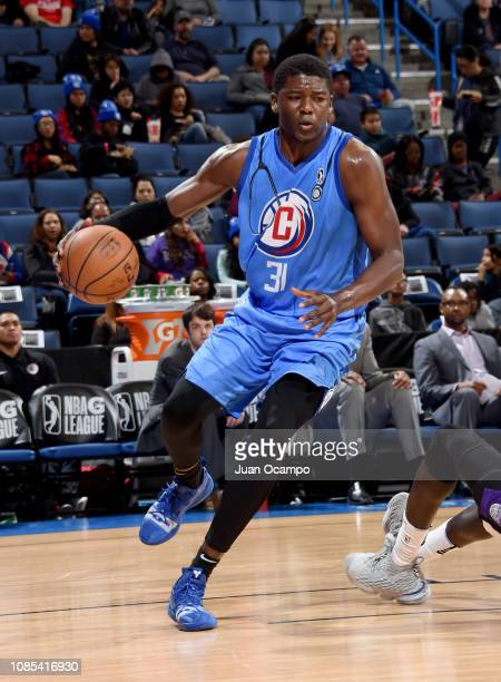 Angel Delgado of the Agua Caliente Clippers of Ontario drives the baseline during the game against the Stockton Kings on January 19 2019 at Citizens...