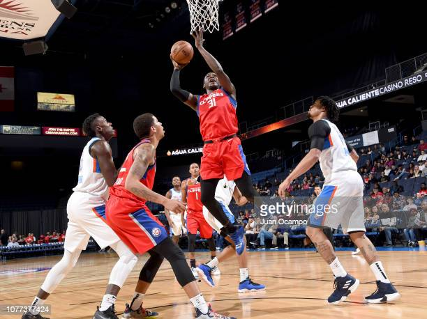 Angel Delgado of the Agua Caliente Clippers of Ontario goes to the basket during the game against the Oklahoma City Blue on January 4 2019 at...