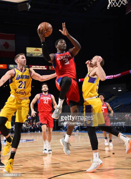 Angel Delgado of the Agua Caliente Clippers of Ontario goes to the basket during the game against the South Bay Lakers on January 22 2019 at Citizens...