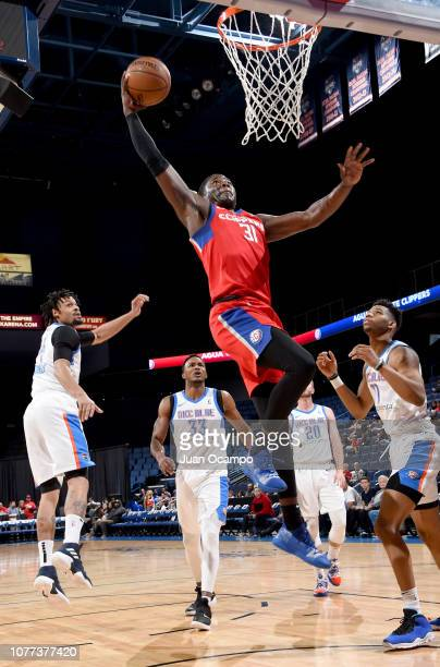 Angel Delgado of the Agua Caliente Clippers of Ontario goes up for the dunk during the game against the Oklahoma City Blue on January 4 2019 at...