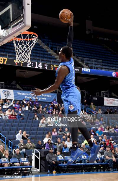 Angel Delgado of the Agua Caliente Clippers of Ontario goes up for the dunk during the game against the Stockton Kings on January 19 2019 at Citizens...