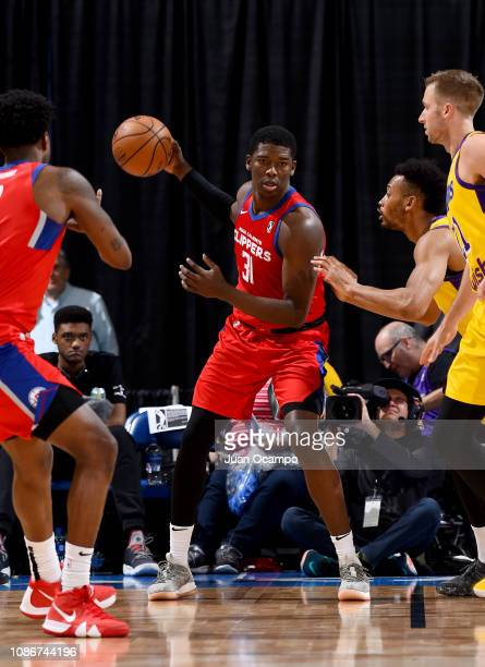 Angel Delgado of the Agua Caliente Clippers of Ontario handles the ball during the game against the South Bay Lakers on January 22 2019 at Citizens...