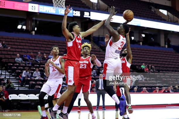 Angel Delgado of the Agua Caliente Clippers shoots against Doral Moore of the Memphis Hustle during an NBA GLeague game on February 4 2019 at Landers...