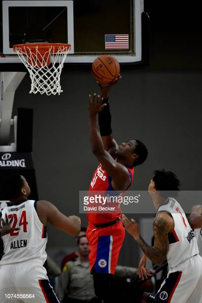 Angel Delgado of the Agua Caliente Clippers shoots the ball against the Capital City GoGo during the NBA G League Winter Showcase at Mandalay Bay...