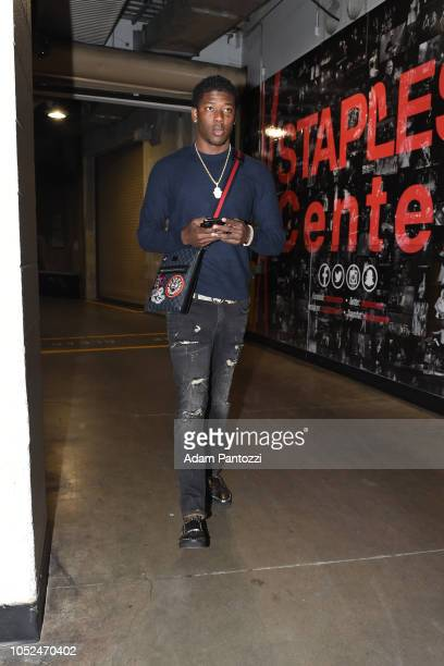 Angel Delgado of the LA Clippers arrives to the arena before a game against the Denver Nuggets on October 17 2018 at Staples Center in Los Angeles...