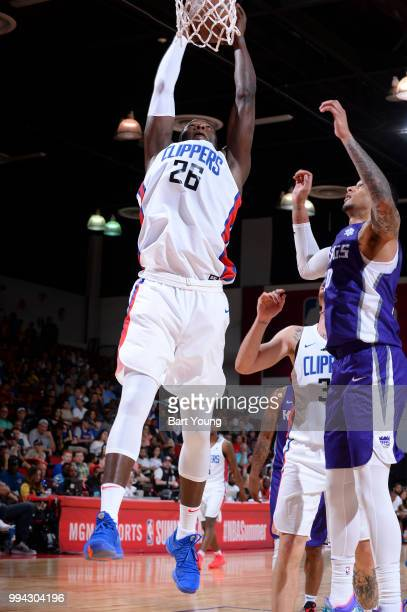 Angel Delgado of the LA Clippers dunks the ball against the Sacramento Kings during the 2018 Las Vegas Summer League on July 8 2018 at the Cox...