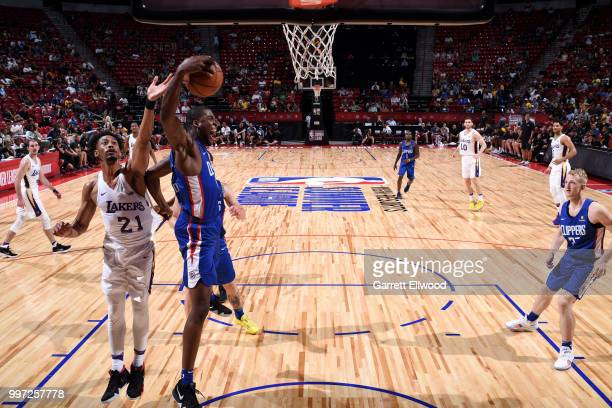 Angel Delgado of the LA Clippers gets the rebound against the Los Angeles Lakers during the 2018 Las Vegas Summer League on July 12 2018 at the...