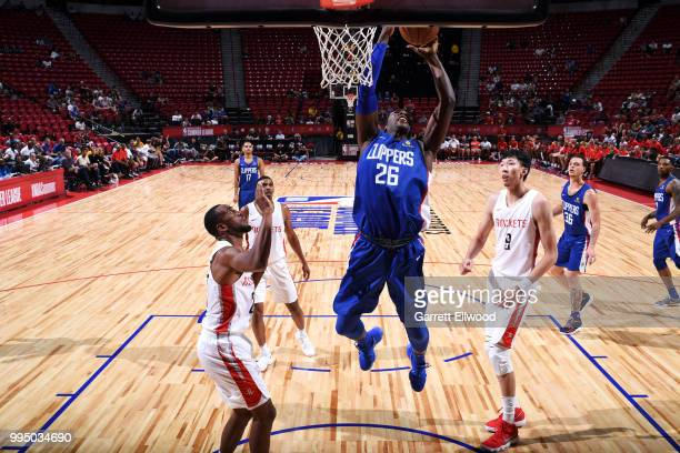 Angel Delgado of the LA Clippers goes to the basket against the Houston Rockets during the 2018 Las Vegas Summer League on July 9 2018 at the Thomas...