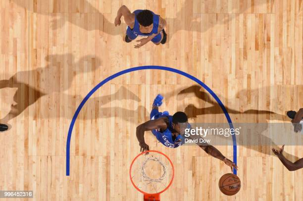 Angel Delgado of the LA Clippers goes up for a rebound against the Washington Wizards during the 2018 Las Vegas Summer League on July 11 2018 at the...