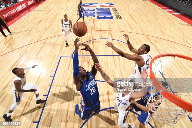 Angel Delgado of the LA Clippers reaches for the ball against the Los Angeles Lakers during the 2018 Las Vegas Summer League on July 12 2018 at the...