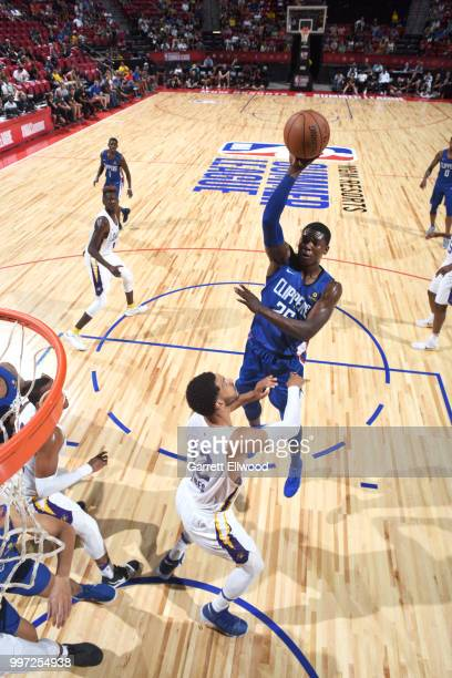 Angel Delgado of the LA Clippers shoots the ball against the Los Angeles Lakers during the 2018 Las Vegas Summer League on July 12 2018 at the Thomas...