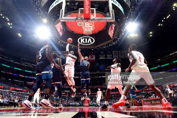 Angel Delgado of the LA Clippers shoots the ball against the Minnesota Timberwolves during a preseason game on October 3 2018 at Staples Center in...